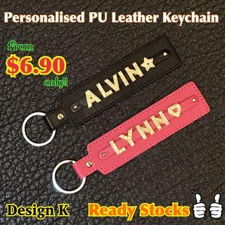 Customized personalized name tag keychain PU leather gift