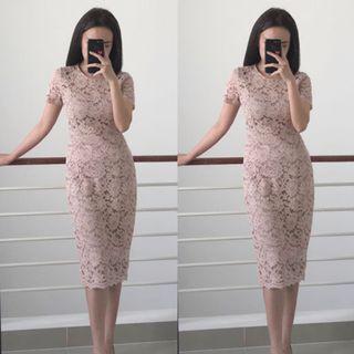 Yuan Lace Dress pink