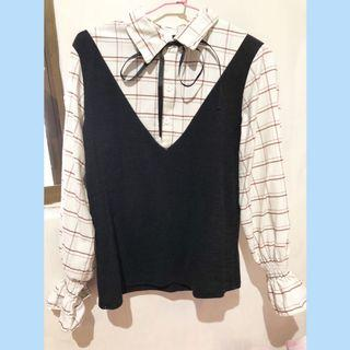格子喇叭袖上衣              二手 $200  原價:350    售:200  尺寸:F 商品近全新,僅試穿 風格不符合自己,故便宜售出