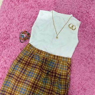 Vintage checkered plaid skirt
