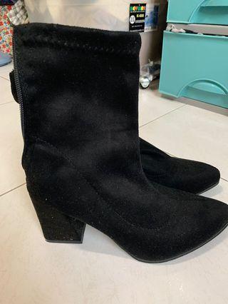 麂皮黑色瓦靴 24.5