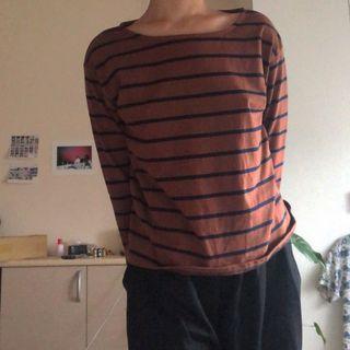 NET 棕藍條紋長袖上衣
