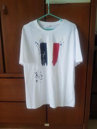 正韓貨 法國國旗彩繪白色T恤 (XL)