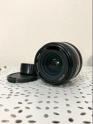 A prime lens; nikkor ais  28mm/f3.5 manual