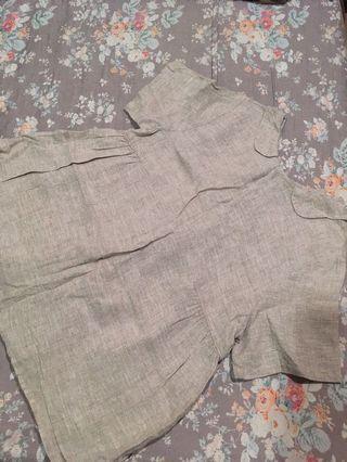 日系棉麻長版上衣