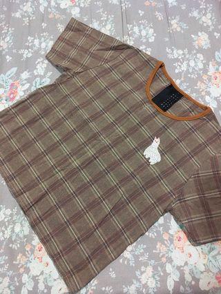 Pinko草泥馬短板棉麻格紋上衣