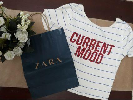 Zara Crop Top Current Mood + PAPER BAG