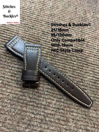21/18mm Dark Brown Calf Leather Watch Strap for IWC Pilot 3717/3777 Chronograph Models