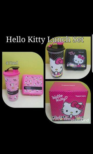 Instock Hello Kitty Lunch Set  Comprises :- Hello Kitty Giant Tumbler 470ml (1) 7.8cm (D) × 17.2cm (H)  Hello Kitty Sandwich Keeper (1) 13.9cm (D) × 13.2cm (W) × 5.7cm (H)  Special Offer Now $24.00 per set
