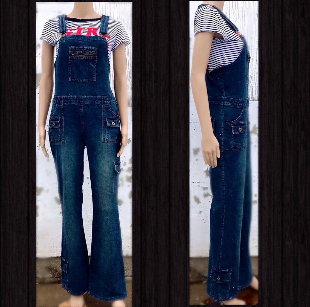 90s Vintage Denim Bib Overalls Bongo Carpenter Blue Jeans