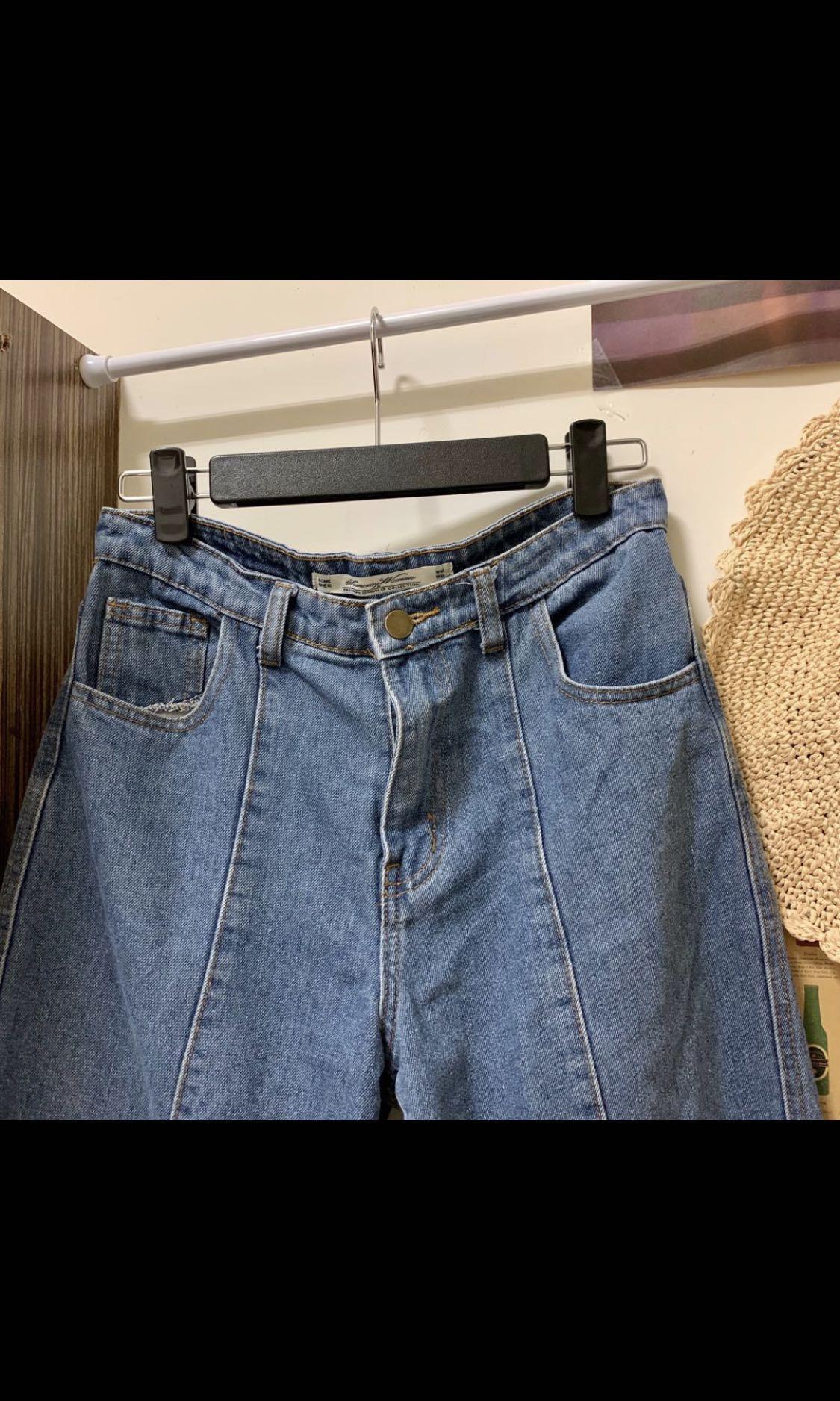 實穿實拍📷 二手出清🌟水洗中藍立體車線牛仔寬褲
