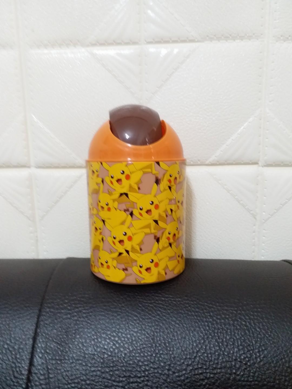 精靈寶可夢授權品神奇寶貝圓型置物筒 皮卡丘收納筒 桌上垃圾筒 時尚實用