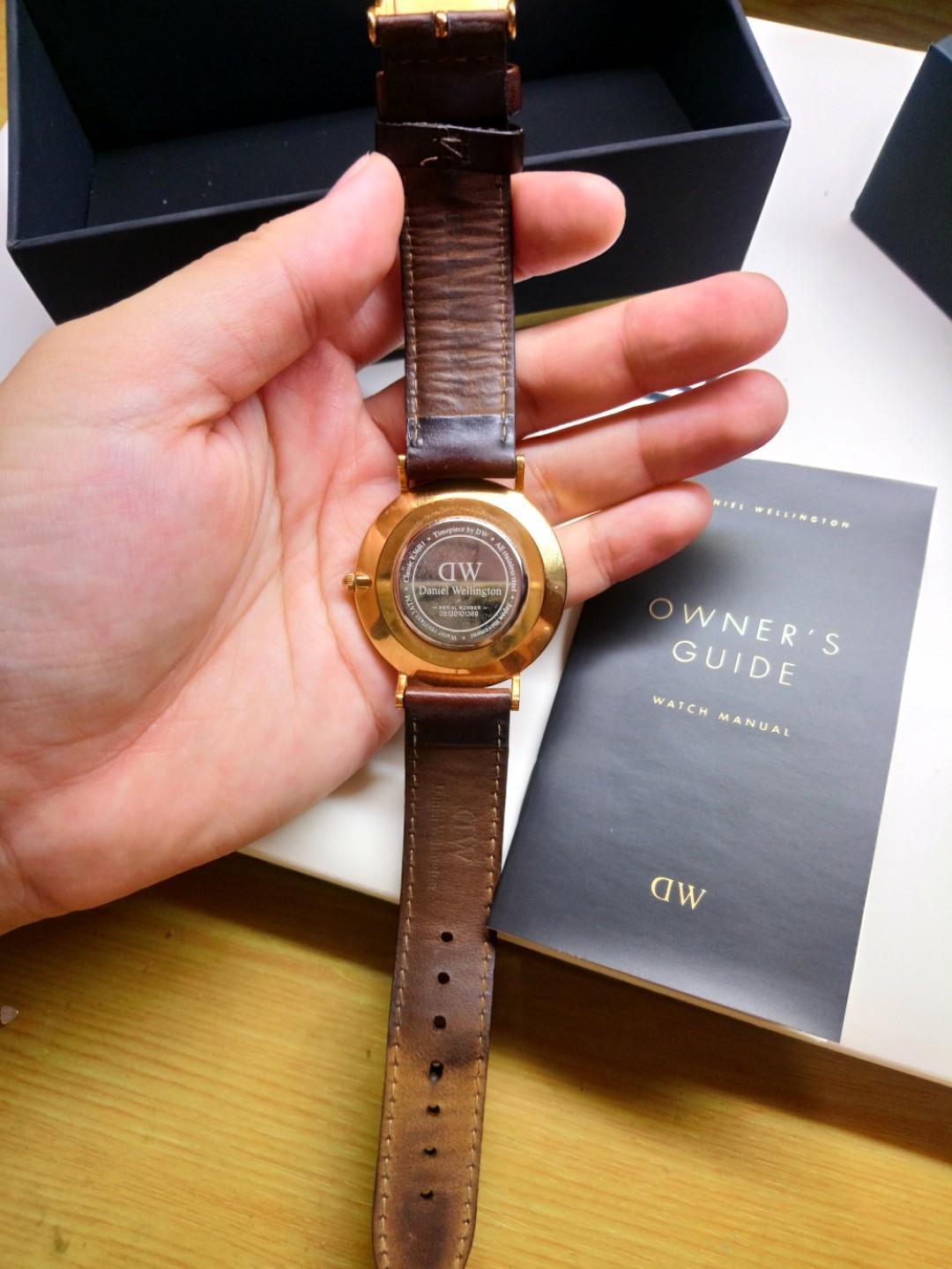 正品 DW 咖色皮革錶帶 玫瑰金色錶框 36mm