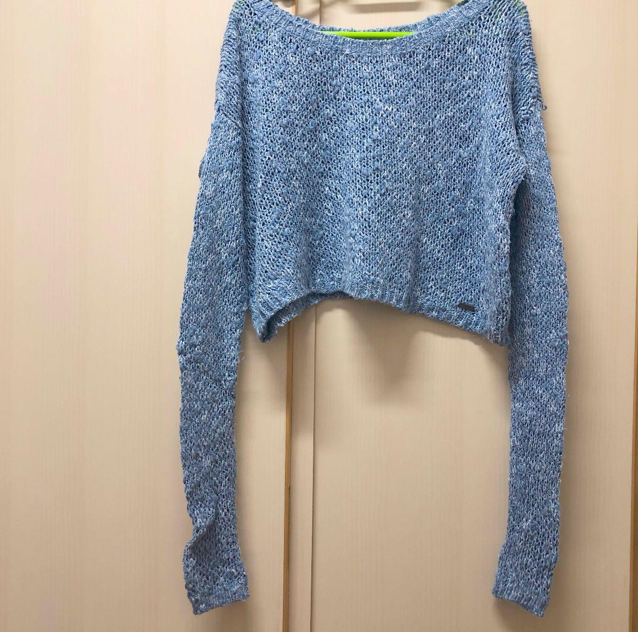 ♥️ Hollister blue crop top knitwear / sweater 藍色 短身 冷衫 可露膊