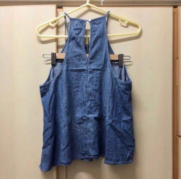 ♥️ Hollister hco summer blue denim top size m 藍色 牛仔 綁帶 吊帶 背心
