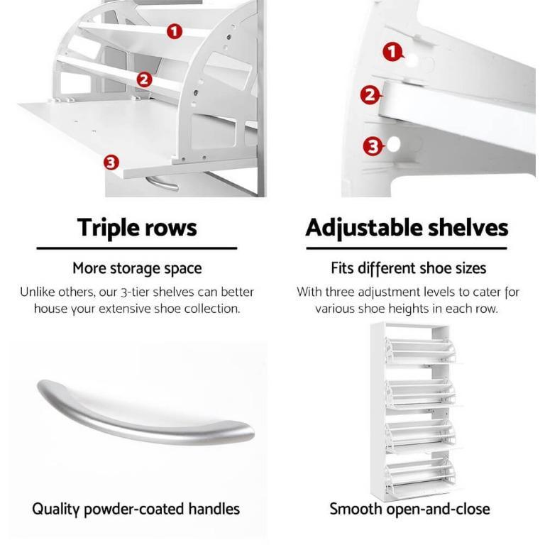 Artiss 60 Pairs Shoe Cabinet Shoes Rack Storage Organiser Shelf Cupboard Drawer