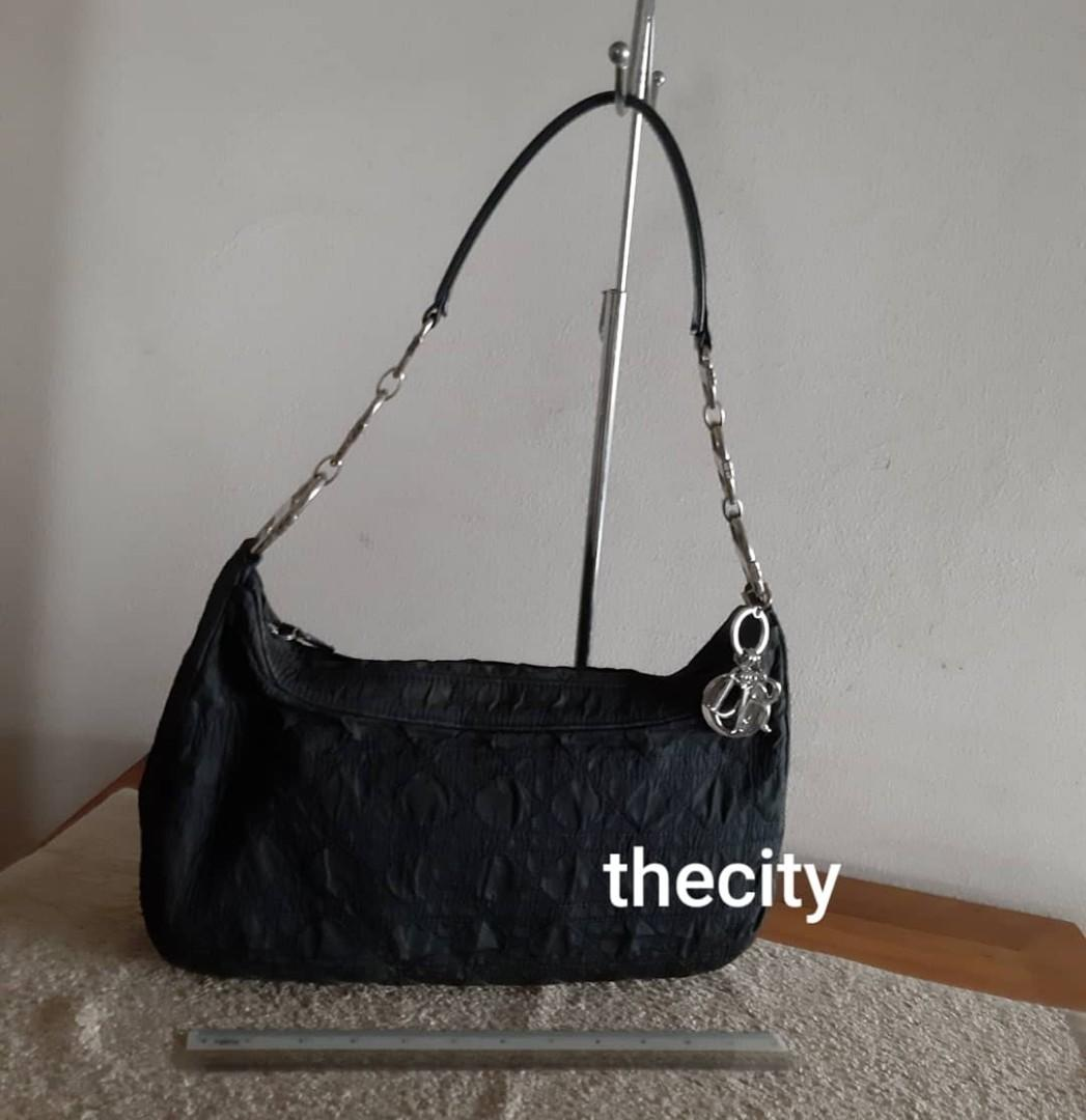 AUTHENTIC DIOR, LADY DIOR QUILTED SHOULDER BAG - BLACK NYLON CANVAS - SILVER HARDWARE- DIOR CHARMS INTACT - OVERALL IN GOOD CONDITION, CLEAN INTERIOR