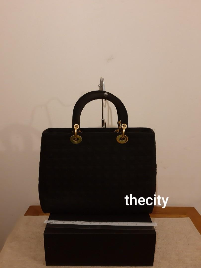 AUTHENTIC DIOR,  LARGE LADY DIOR - BLACK SUEDE MICROFIBER - GOLD HARDWARE - CHARMS INTACT- CLEAN INTERIOR,  SOLID SHAPE STRUCTURE - (LADY DIOR BAGS NOW RETAIL AROUND RM 17,000+) - RM 998 ONLY