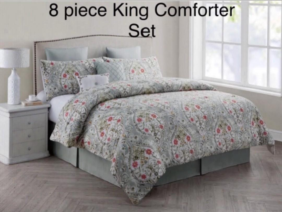 Brand New VCNY Home Evangeline Floral 8-Piece Bedding Comforter Set