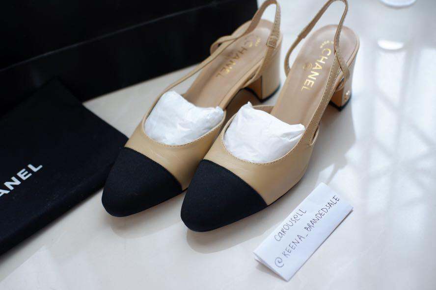 CHANEL SLINGBACKS SHOES WORN ONCE. GENUINE LEATHER, PREMIUM MIRROR QUALITY