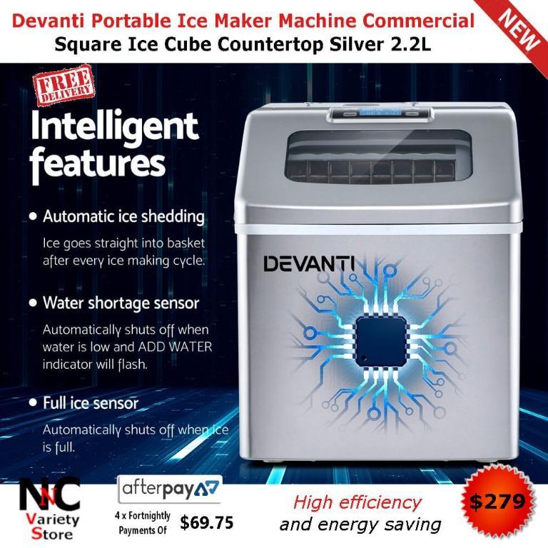 Devanti Portable Ice Maker Machine Commercial Square Ice Cube Countertop Silver 2.2L