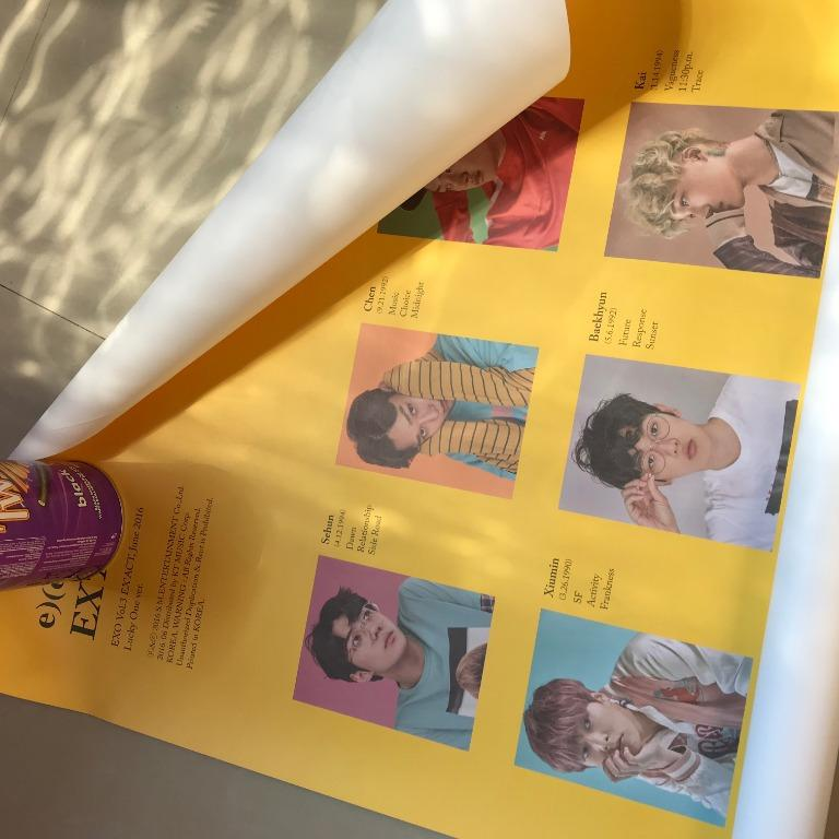 EXO OFFICIAL POSTER - EX'ACT LUCKY ONE VER (YELLOW+WHITE LOGO) IN TUBE
