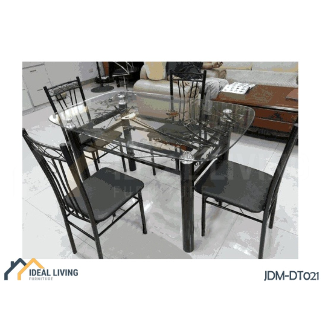 Glass Top Dining Table With Metal Chairs Ideal Living Furniture Home Furniture Furniture Fixtures Tables Chairs On Carousell