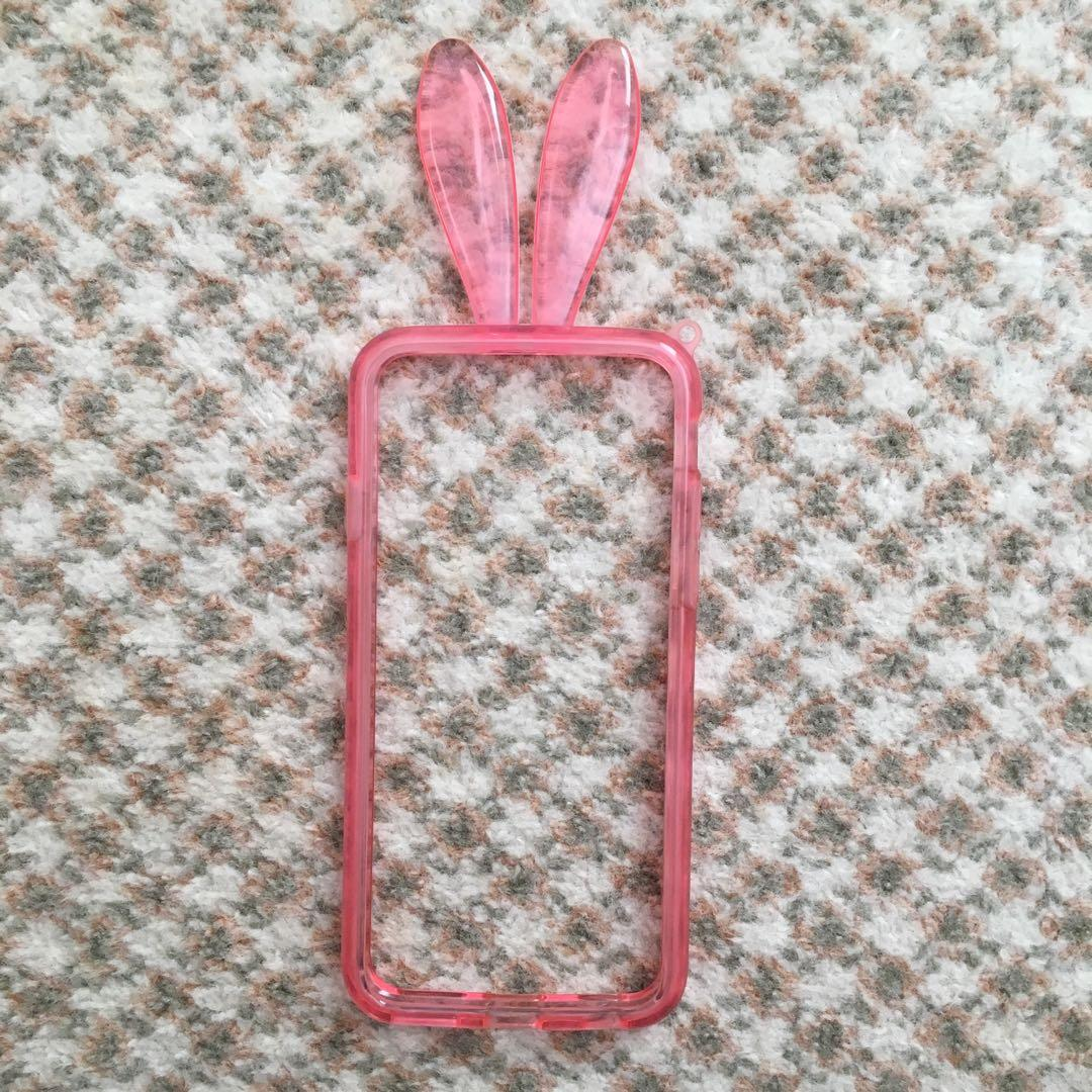 iPhone 6 / 6S Clear Pink Bunny Ear Bumper Phone Case
