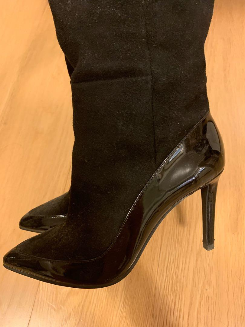 Knee-high black leather & suede stiletto heel boots