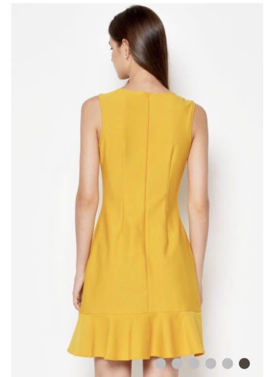 Love and Bravery Ginna Fold Over Dress Mustard