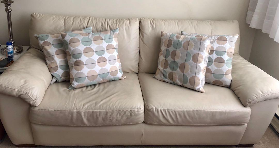 Must Go - IKEA Soft Leather 2-Seater Sofa x 2 Sets (Beige)-Negotiable. - $100 (Etobicoke)