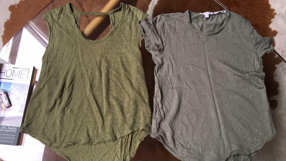 Organic cotton and sportsgirl olive green khaki T-shirt and singlet
