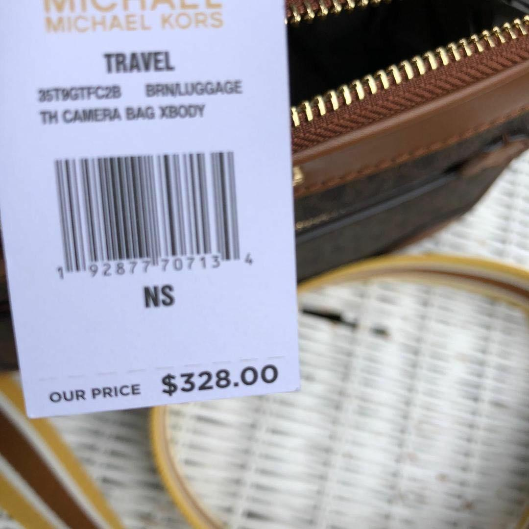 ORIGINAL Michael Kors Travel Top handle Camera Bag Crossbody in Signature Brown/Luggage
