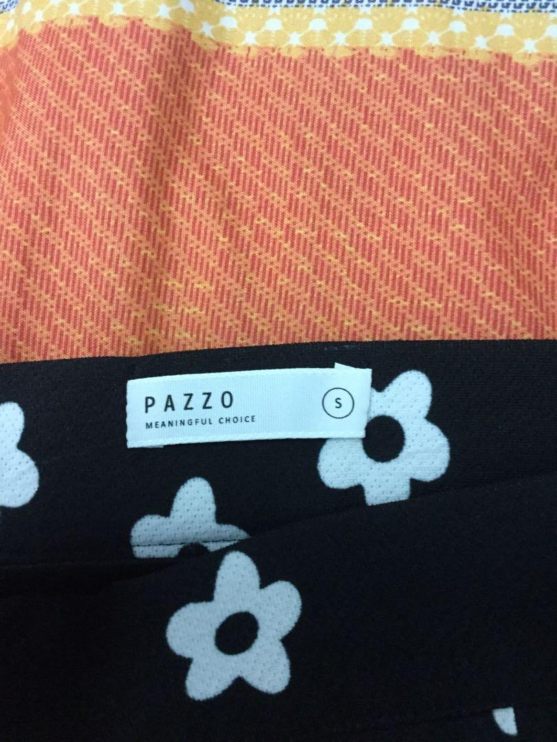PAZZO 黑色花朵窄裙S號