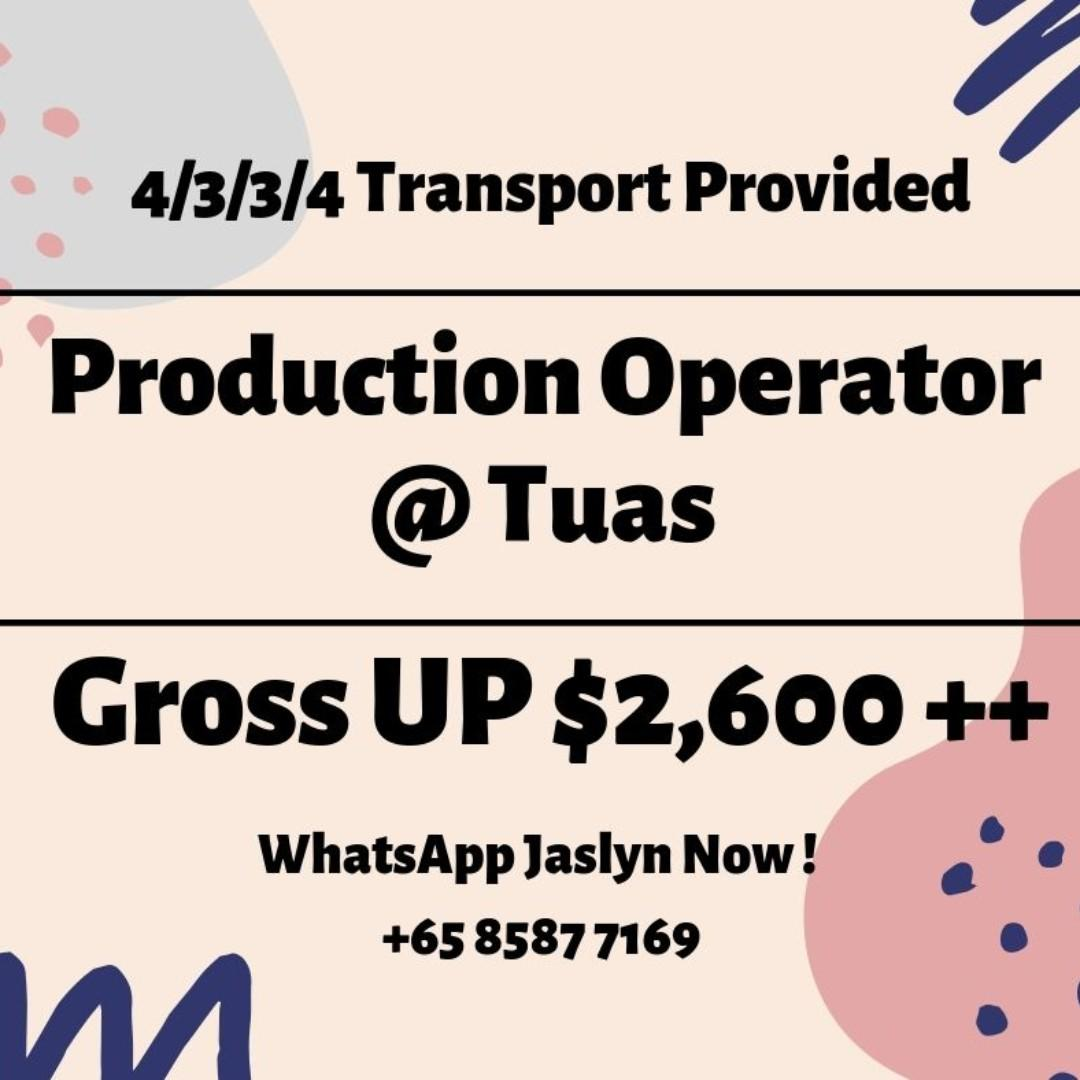 Production Operator @ West (4/3/3/4 | Gross Up $2600)