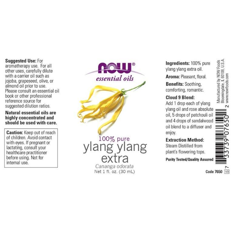 [Ready Stock] Now Foods 100% Pure Ylang Ylang Extra Essential Oil 30ml