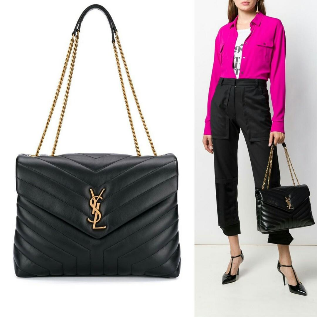 Ready YSL Medium Loulou in Black Quilted Leather GHW  Size 32cm x 22cm x 11cm