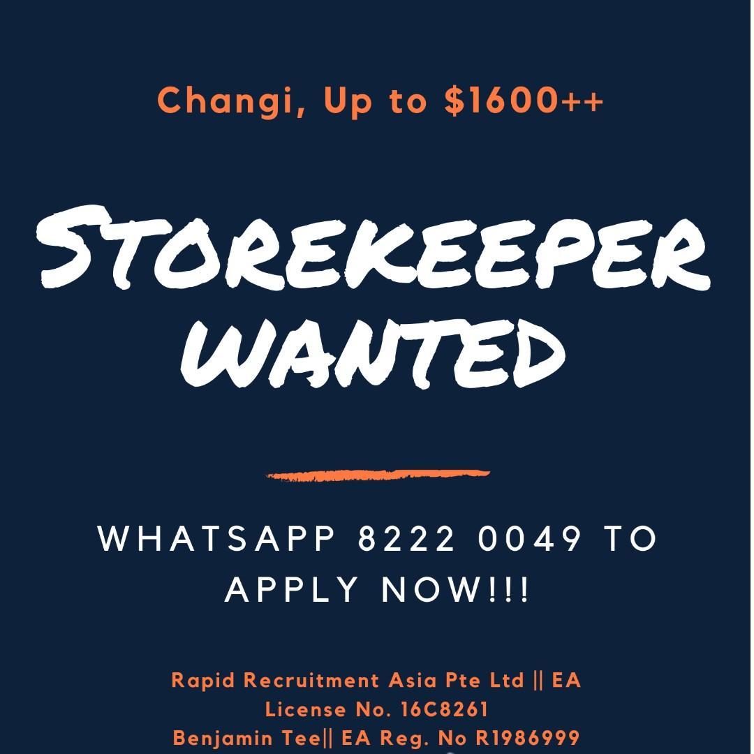Storekeepers @ Changi ($2000++ | Air Con | START ASAP)
