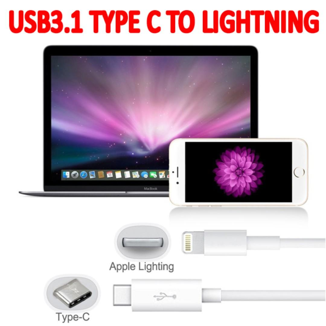 TCP045 1M USB 3.1 Type C Male To Lightning Male Data Cable (MAC iphone 11 XR brand new)