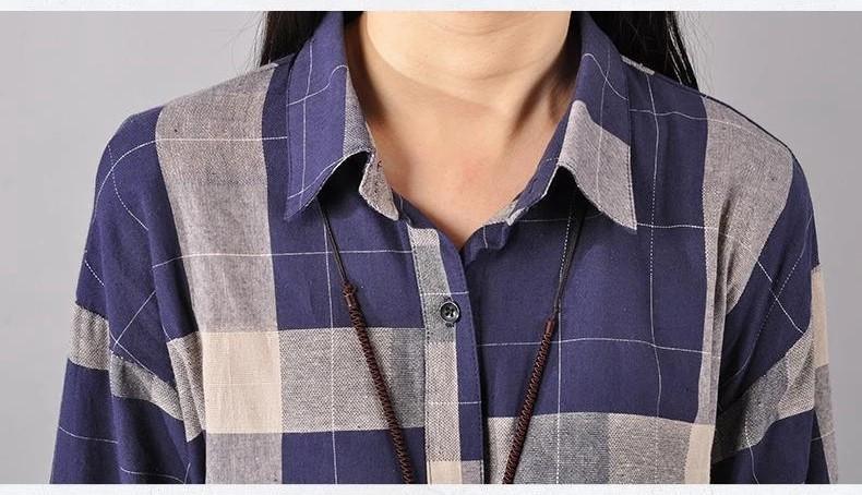 Three Quarter Sleeve Grid Women Blouse Casual Long Plaid Shirts Women Tops