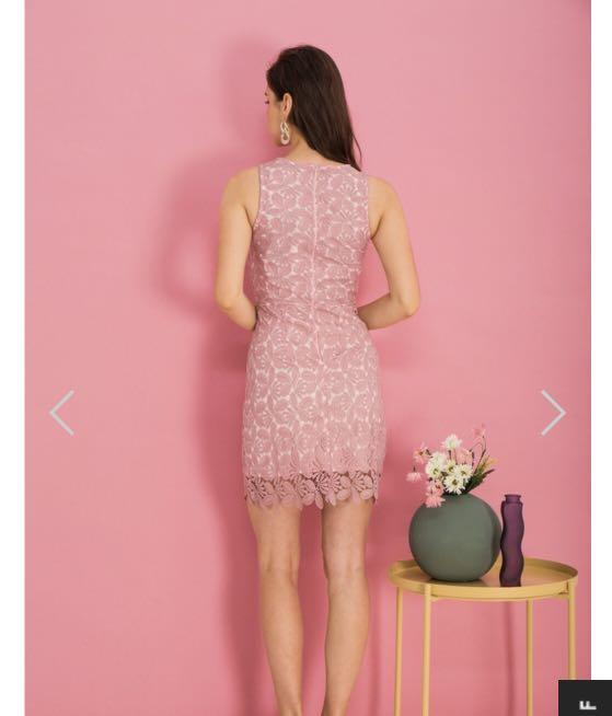 TSW OLIER CROCHET SHEATH DRESS IN PINK