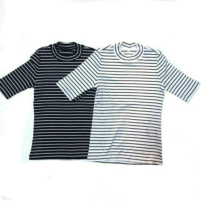 UNIQLO HIGH NECK, turtleneck stripe black white