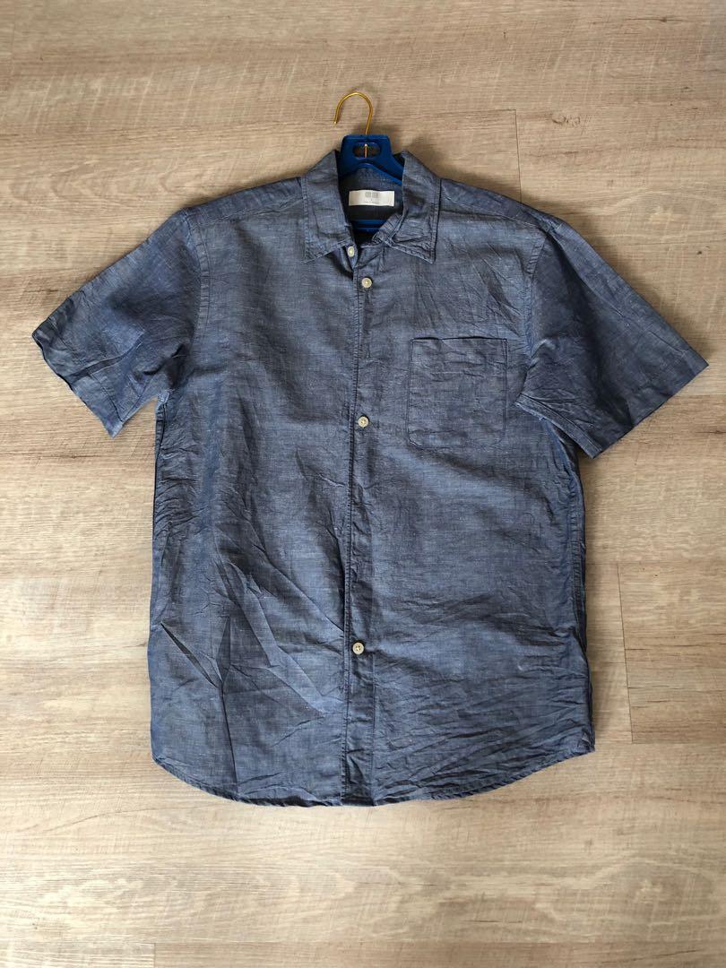 Uniqlo Men Short Sleeve Linen Shirt S