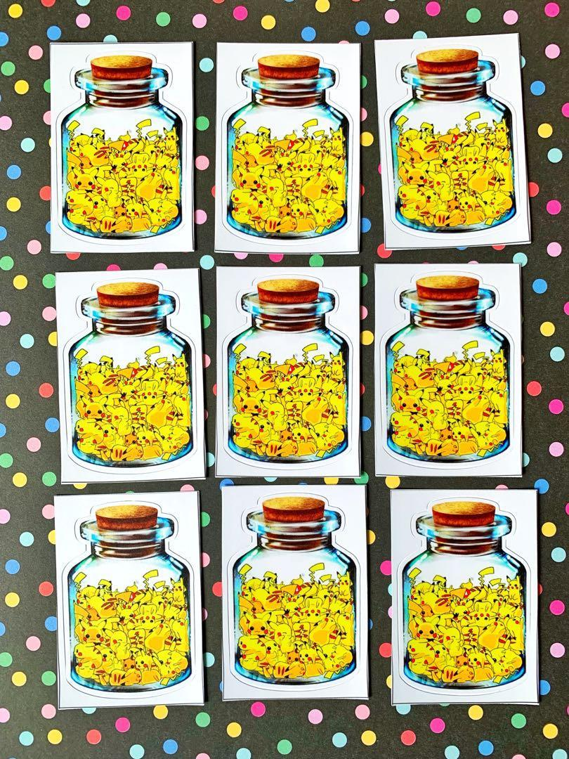 💖WATERPROOF💖 Pikachus in Jar Luggage / Laptop Sticker #476