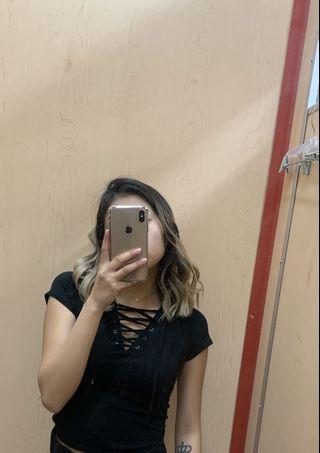 Urban outfitters black top (mid crop)