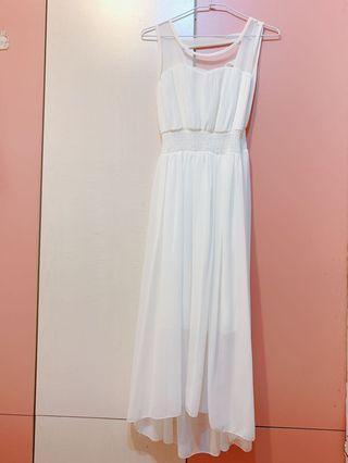 氣質白長洋裝