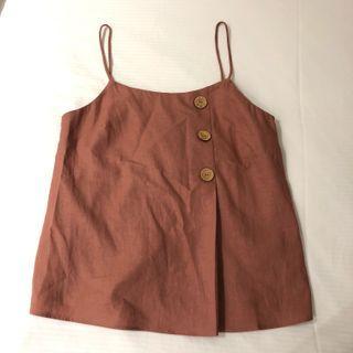 Topshop brown button top