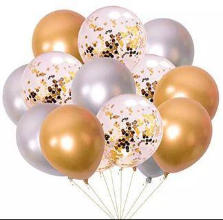 Gold silver confetti balloons