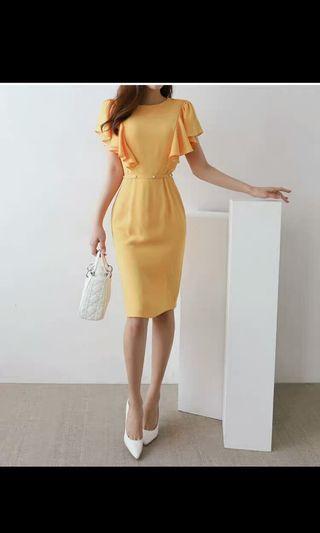 Mustard yellow office dress