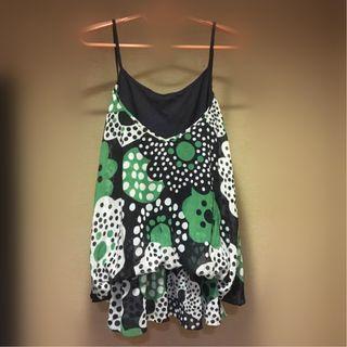 《iROO 假兩件 小可愛 肩帶 連身裙 短裙 洋裝》